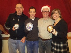 Dennis (Most Improved Male), Graeme (Club Champion). Tim (Chairman), Jacqueline (Most Improved Female)